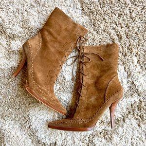 Nine West Deshanar Lace Up Suede Heel Boots Brown
